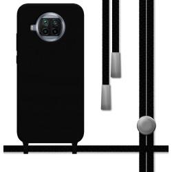 Funda Silicona Líquida con Cordón para Xiaomi Mi 10T Lite color Negra