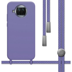 Funda Silicona Líquida con Cordón para Xiaomi Mi 10T Lite color Morada