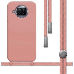 Funda Silicona Líquida con Cordón para Xiaomi Mi 10T Lite color Rosa