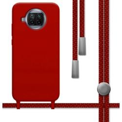 Funda Silicona Líquida con Cordón para Xiaomi Mi 10T Lite color Roja