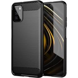 Funda Gel Tpu Tipo Carbon Negra para Xiaomi POCO M3 / Redmi 9T