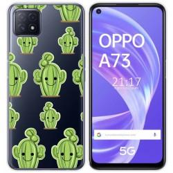 Funda Gel Transparente para Oppo A73 5G diseño Cactus Dibujos