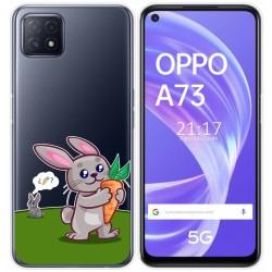 Funda Gel Transparente para Oppo A73 5G diseño Conejo Dibujos