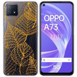 Funda Gel Transparente para Oppo A73 5G diseño Hojas Dibujos