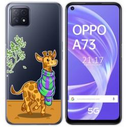 Funda Gel Transparente para Oppo A73 5G diseño Jirafa Dibujos