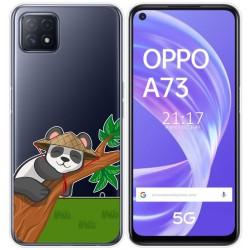 Funda Gel Transparente para Oppo A73 5G diseño Panda Dibujos