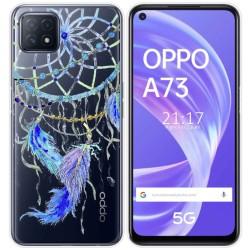 Funda Gel Transparente para Oppo A73 5G diseño Plumas Dibujos