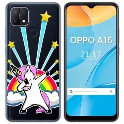 Funda Gel Transparente para Oppo A15 diseño Unicornio Dibujos