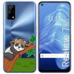 Funda Gel Transparente para Realme 7 5G diseño Panda Dibujos