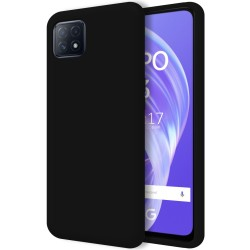 Funda Silicona Líquida Ultra Suave para Oppo A73 5G color Negra