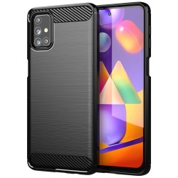 Funda Gel Tpu Tipo Carbon Negra para Samsung Galaxy M31s