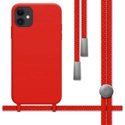 Funda Silicona Líquida con Cordón para Iphone 11 (6.1) color Roja