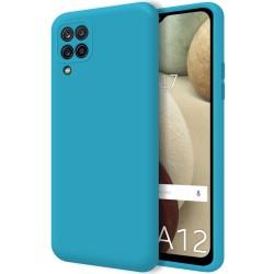 Funda Silicona Líquida Ultra Suave para Samsung Galaxy A12 color Azul