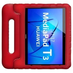 Funda Infantil Antigolpes con Asa para Huawei MediaPad T3 color Roja