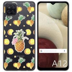 Funda Gel Transparente para Samsung Galaxy A12 diseño Piña Dibujos