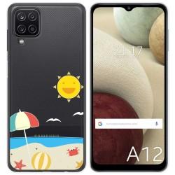 Funda Gel Transparente para Samsung Galaxy A12 diseño Playa Dibujos