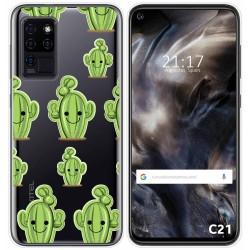 Funda Gel Transparente para Oukitel C21 diseño Cactus Dibujos
