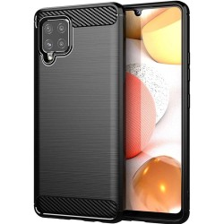 Funda Gel Tpu Tipo Carbon Negra para Samsung Galaxy A12
