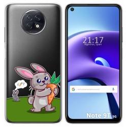Funda Gel Transparente para Xiaomi Redmi Note 9T 5G diseño Conejo Dibujos
