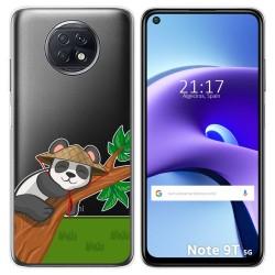 Funda Gel Transparente para Xiaomi Redmi Note 9T 5G diseño Panda Dibujos