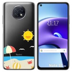 Funda Gel Transparente para Xiaomi Redmi Note 9T 5G diseño Playa Dibujos