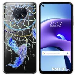 Funda Gel Transparente para Xiaomi Redmi Note 9T 5G diseño Plumas Dibujos