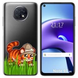 Funda Gel Transparente para Xiaomi Redmi Note 9T 5G diseño Tigre Dibujos