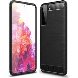Funda Gel Tpu Tipo Carbon Negra para Samsung Galaxy S21 5G