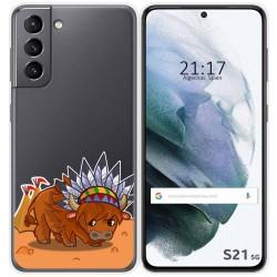 Funda Gel Transparente para Samsung Galaxy S21 5G diseño Bufalo Dibujos