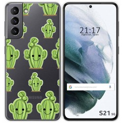 Funda Gel Transparente para Samsung Galaxy S21 5G diseño Cactus Dibujos