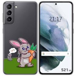 Funda Gel Transparente para Samsung Galaxy S21 5G diseño Conejo Dibujos