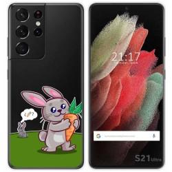 Funda Gel Transparente para Samsung Galaxy S21 Ultra 5G diseño Conejo Dibujos