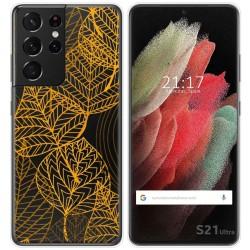 Funda Gel Transparente para Samsung Galaxy S21 Ultra 5G diseño Hojas Dibujos