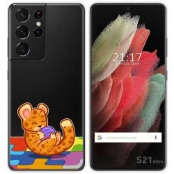 Funda Gel Transparente para Samsung Galaxy S21 Ultra 5G diseño Leopardo Dibujos