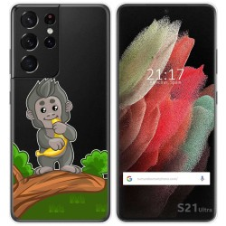 Funda Gel Transparente para Samsung Galaxy S21 Ultra 5G diseño Mono Dibujos