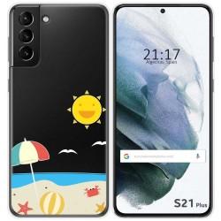 Funda Gel Transparente para Samsung Galaxy S21+ Plus 5G diseño Playa Dibujos