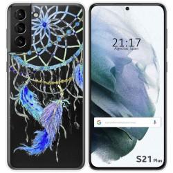 Funda Gel Transparente para Samsung Galaxy S21+ Plus 5G diseño Plumas Dibujos