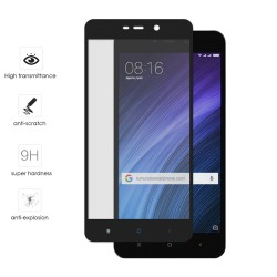 Protector Cristal Templado Frontal Completo Negro para Xiaomi Redmi 4A Vidrio