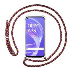 Funda Colgante Transparente para Oppo A73 5G con Cordon Rosa / Dorado