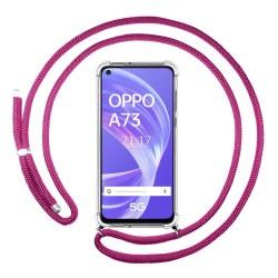 Funda Colgante Transparente para Oppo A73 5G con Cordon Rosa Fucsia