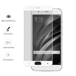 Protector Cristal Templado Frontal Completo Blanco  para Xiaomi Mi6 Vidrio
