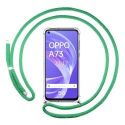 Funda Colgante Transparente para Oppo A73 5G con Cordon Verde Agua