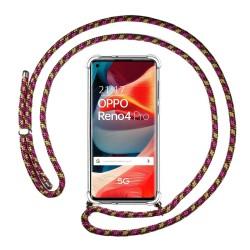 Funda Colgante Transparente para Oppo Reno 4 Pro 5G con Cordon Rosa / Dorado