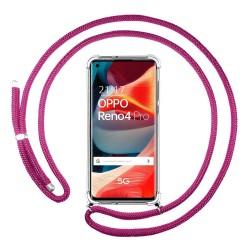 Funda Colgante Transparente para Oppo Reno 4 Pro 5G con Cordon Rosa Fucsia