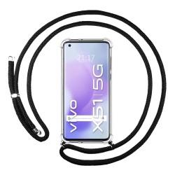 Funda Colgante Transparente para Vivo X51 5G con Cordon Negro