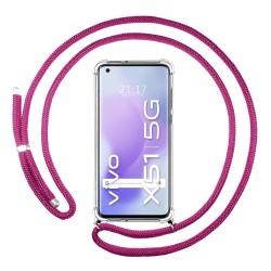 Funda Colgante Transparente para Vivo X51 5G con Cordon Rosa Fucsia