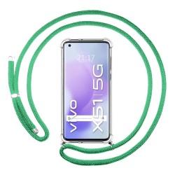 Funda Colgante Transparente para Vivo X51 5G con Cordon Verde Agua