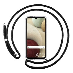 Funda Colgante Transparente para Samsung Galaxy A12 con Cordon Negro