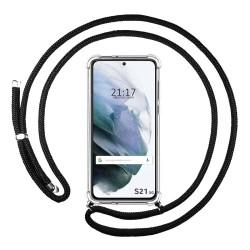 Funda Colgante Transparente para Samsung Galaxy S21 5G con Cordon Negro