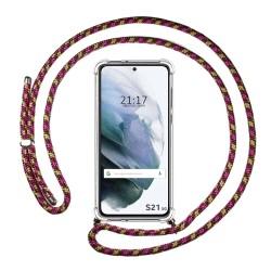 Funda Colgante Transparente para Samsung Galaxy S21 5G con Cordon Rosa / Dorado